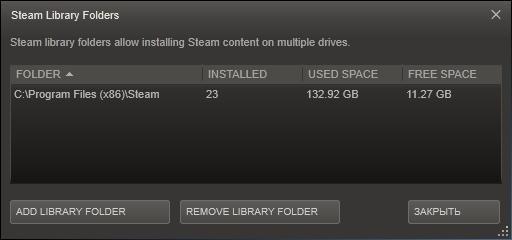 Диалог «Steam Library Folders»